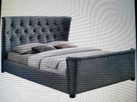 Superking size bed frame Plush velvet grey