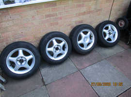 VW Golf MK3 alloy wheels & 3 good tyres , 14 inch