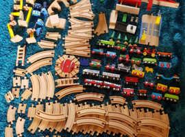 Huge wooden train set