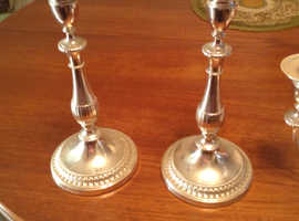 Viners vintage tarnish protect silver pair of candle holders