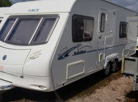 2007 TWIN  AXLE FIXED BED  ACE JUBILEE MODEL.  EXCELLENT CARAVAN WITH ALL ACCESSORIES.