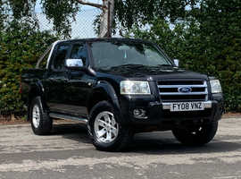 2008 (08) FORD RANGER THUNDER 2.5 DI DOUBLE CAB 4WD DIESEL 4 Dr in BLACK, NEW MOT, LEATHER