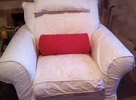 3 seater sofa and chair in heavy weight cream linen cotton