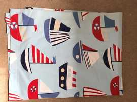 Children's curtains. Nautical theme.  Blue and red with boats.