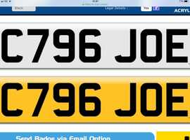 C 976 JOE PRIVATE NUMBER PLATE.