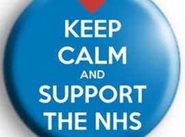 FREE POST SUPPORT NHS CHARITIES,  BADGES, FROM £2 KEY RINGS £2.503  VARIOUS DESIGNS AVAILABLE
