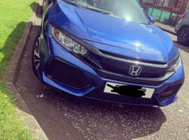 Honda Civic, 2017 (67) Blue Hatchback, Manual Petrol, 48,000 miles