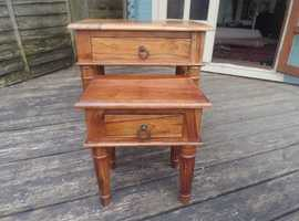 Rare Nest of Two Tables Hard Wood with Drawers