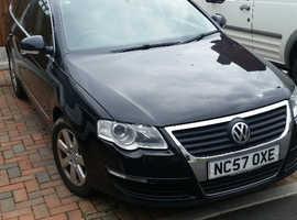 Volkswagen PASSAT SE TDI, 2008 (57) Black Estate, Manual Diesel, 129,000 miles