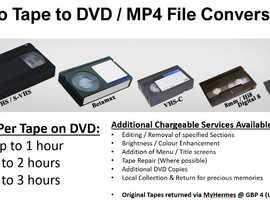 Video to MP4 / DVD Transfer from £6 per 60 min tape (Betamax/S-VHS/VHS/VHS-C Hi8 / Digital 8 / Mini DV) - Ideal Christmas Gift