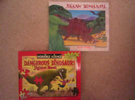 2 DINOSAUR JIGSAW/ EDUCATIONAL FACTS HARDCOVER BOOKS -  Both NEW -  £8.00 each or both for £15.00.00