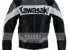 Kawasaki Grey Padded Motorcycle Leather Jacket