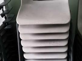 12 x Light grey polypropylene chairs