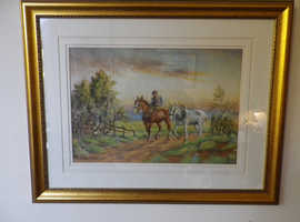 "Clydesdale Horses Homeward Bound ""THE END OF THE DAY,"" John C Gray, 1873-1958 signed"