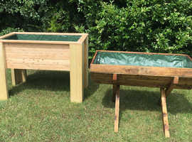 Garden Planters, 100 x 65 x 50, treated wood, assembled, incl liners & drain holes