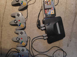 Nintendo 64 with 4 controllers and Mario Kart