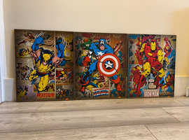 MARVEL - set of wooden comic posters