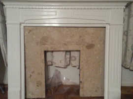 Solid Marble and White Wooden Mantelpiece