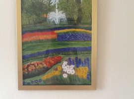 Original acrylic art 3 Spanish pictures one Sherwood Forest and main painting of Kuekenhoff Gardens Holland