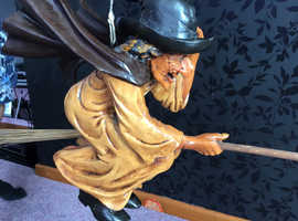 RARE large flying witch on broomstick. Ideal Halloween, Pagan etc.