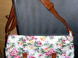 Floral satchel style shoulder bag with tan strap  (BRAND NEW)