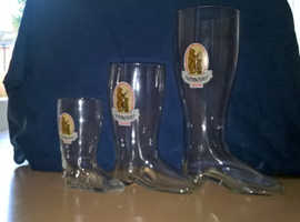 3 Vintage Hofmeister glass boots from the 1970s