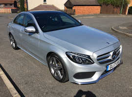 Mercedes C220D AMG Line Premium, 2017 (17) Silver Saloon, Automatic Diesel, 28,750 miles