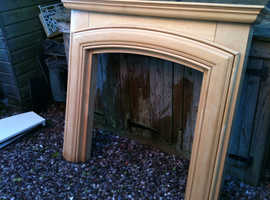 light wood fire surround fireplace with cream marble effect hearth abd back panel