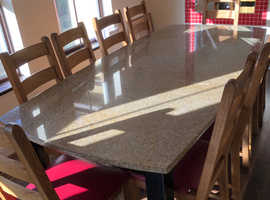 Solid 30mm Granite Table 10 Oak Chairs