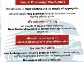 Muck shifting, aggregates, tarmacking and drainage systems