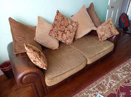 2 x HARVEYS Casablanca BROWN Leather & Fabric SOFA Deep Settees + CUSHIONS