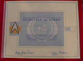 Star Trek Starfleet Academy certificate.