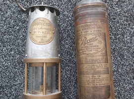 Vintage genuine miners lamp and fire extinguisher.