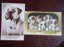 2 POSTCARDS OF DOGS PRAYING FOR BONES & TIRED PUPPIES BAMFORTH & SALMON POSTED 5