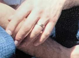Men's wedding ring, titanium (silver coloured) with yellow gold trim