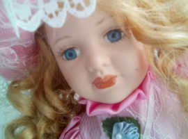 "Beautiful 16"" porcelain doll stand porcelain face hands"