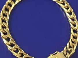Ladies Jewellery Sparkling 9ct Gold Diamond Cut Curb Bracelet Fully Hallmarked 375 21.4g.