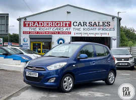2011/61 Hyundai i10 1.2 Active finished in Ocean Blue Metallic.  34,273 miles