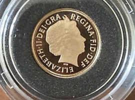 2012 Royal Mint Gold Proof Quarter Sovereign Mint In Original Box and CoA