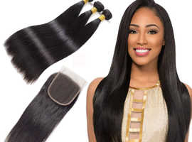 3 BUNDLES OF BRAZILIAN HAIR WITH 4--4 LACE CLOSURE