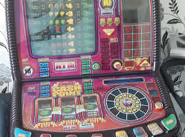 Red gaming fruit machine.
