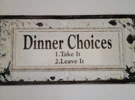 Rustic looking funny kitchen/dining room sign