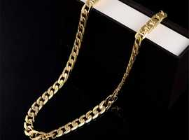 18K Yellow Real Solid Gold Filled 6MM Curb Cuban Mens Chain Necklace