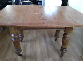 Sturdy rustic traditional folding dining table + four chairs
