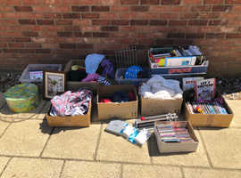 FREE - 11 boxes of various items for yard sale/car Boot
