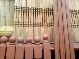 USED.  Spindles, Newel Posts with some Top and Bottom Rails for Garden Decking.