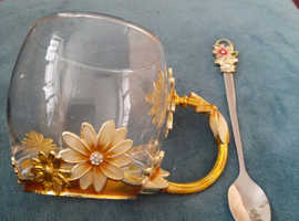 Beautiful glass  with  spoon gold detail