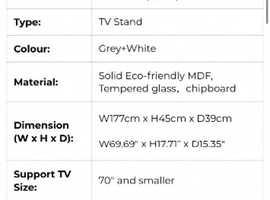 177cm white gloss tv unit