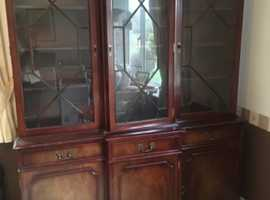 Glass fronted cabinet, three doors