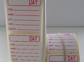 Food Labels Food Preparation Labels Printed In RED 36mm x 36mm 1000 On A Roll